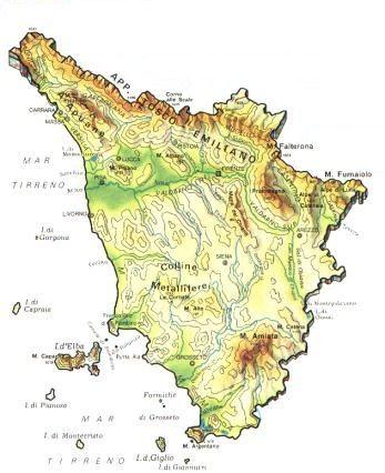 La Toscana Cartina Fisica.Toscana Scheda Regione Global Geografia